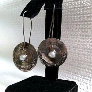 MCM Sterling Silver Genuine Pearl Drop Earring VTG
